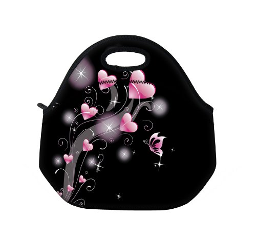 New Fashion Travel Outdoor Cooler Thermal Waterproof Lunch Bag Picnic Tote Box Container Insulated Zip Out Removable School Carry Handle Tote Lunch bag - Pink Heart D-19213