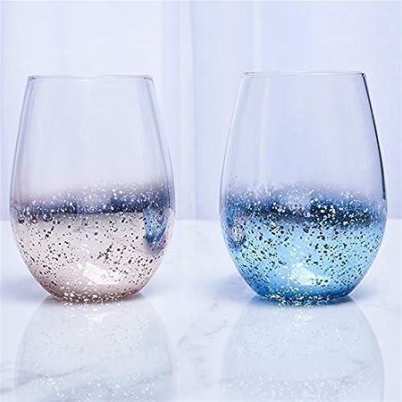 HSIOVE Moderno 500 ml instantáneo Starry Cielo de Cristal Botella de Agua Copa de Vientre del hogar Jugo de Leche Café Smoothie Bebida Taza (Capacity : 401 500ml, Color : Starry Pink)