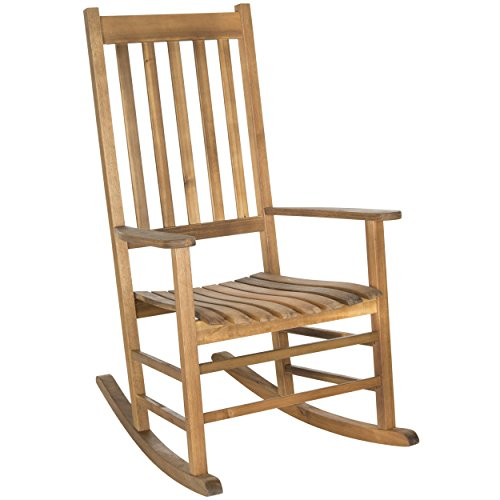 Safavieh Outdoor Living Collection Shasta Rocking Chair, Teak Brown (Porch Rocker Teak)