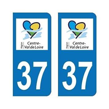 2 Autocollants Plaque Immatriculation 37 Centre-Val de Loire Indre-et-Loire - Arrondis Zone-Stickers