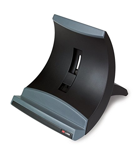 3M Laptop Stand, Raise Screen Height to Reduce Neck Strain, Vertical Design Allows You to Bring Screen Closer, Compact Foot Print Saves Desk Space, Non-Skid Base Keeps Laptop Secure, Black (LX550) (Design Screen Print)