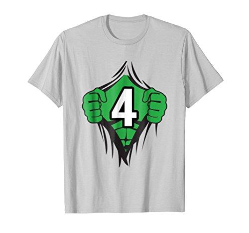 Superhero Birthday Shirt 4 Year Old Tshirt Girls Boys Comic