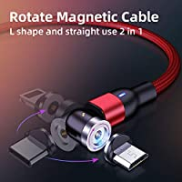 540 Rotate magnetic USB charging cable and magnetic phone charger cable for IOS & TYPE-C. Red Color
