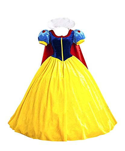 Halloween Women's Snow White Princess Costume Dress for Adult Classic Deluxe Ball Gown Cosplay with Cloak Headband (XXL, Snow -
