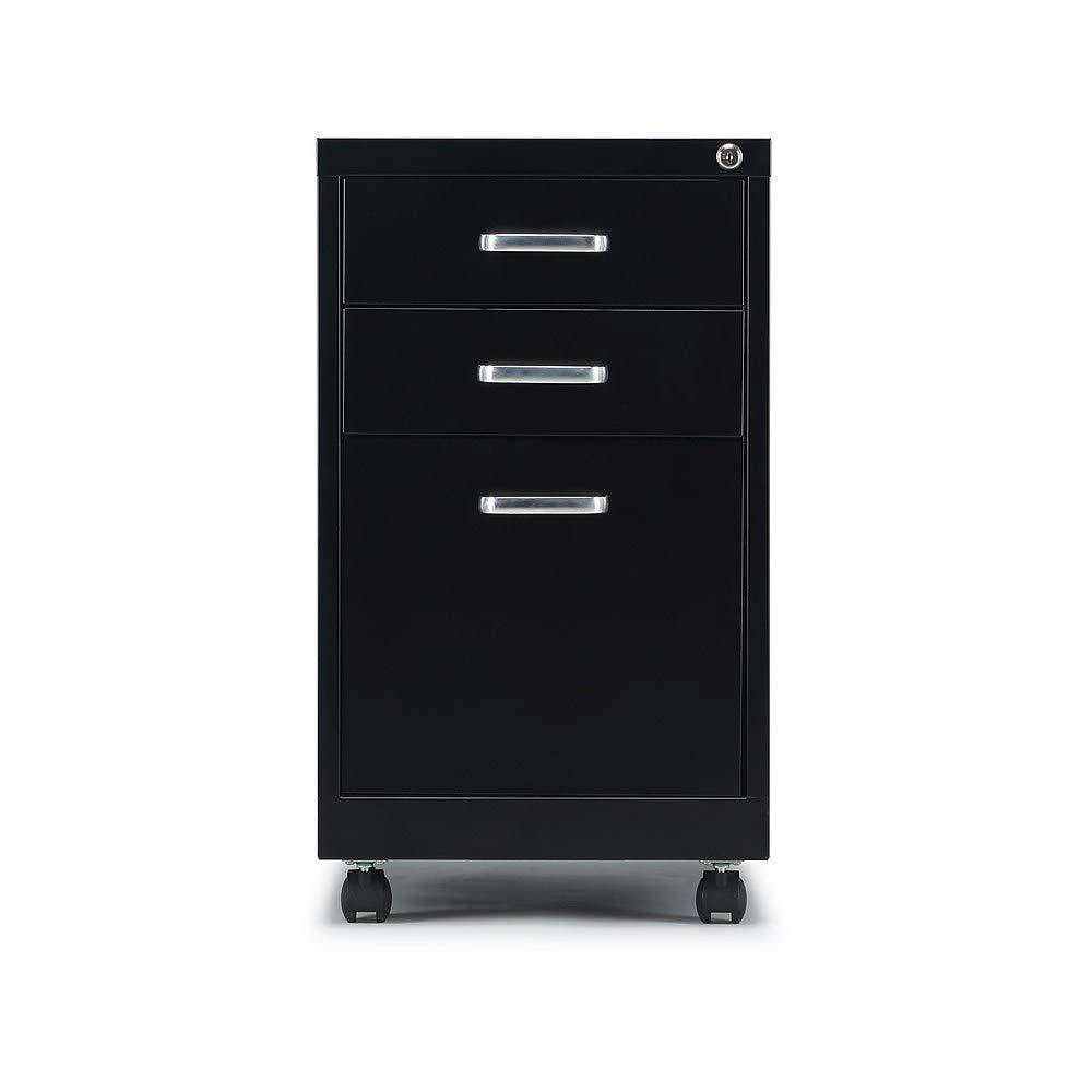 Staples 2806766 3-Drawer Vertical File Cabinet Locking Letter Black 19''D (52156) by Staples