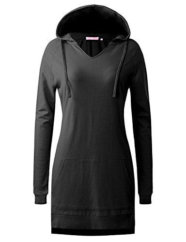 Regna X Love Coated Womens Long Sleeve Kangaroo Pocket Hoodie Dress Black S
