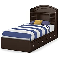 South Shore Morning Dew Mates Bed with 3 Drawers, Full 39-inch, Chocolate