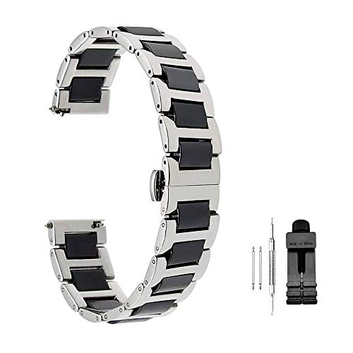 Luxury Ceramic Watch Band Replacement Stainless Steel Watch Bracelet Deployment Clasp Metal Watch Strap All Links Removable for Men Women 20mm or ()