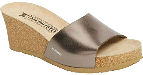 Mephisto Women's Lise Platinum Star 38 B - Nicole Leather Sandals Patent