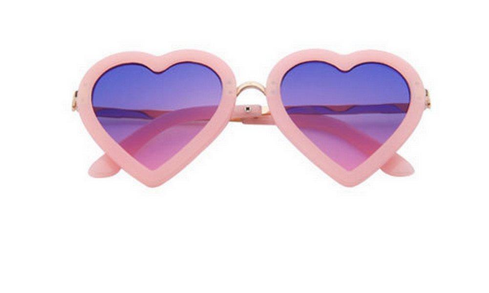 Nikgic gafas de sol polarizadas UV400forma de corazón moda retro para niños, azul y amarillo, Bleu et jaune