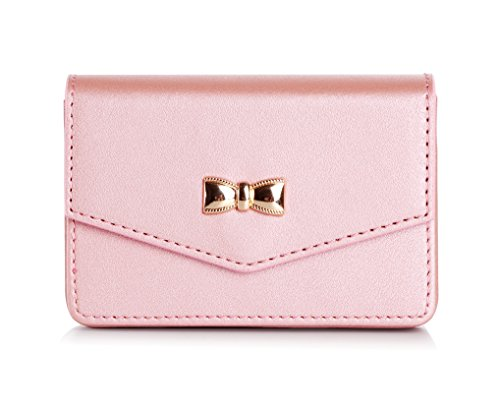 FYY Business Card Holder, Handmade Premium Leather Business Name Card Case Universal Card Holder with Magnetic Closure (Hold 30 pics of Cards) Rose - Pink Business Card