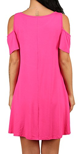 T Casual XL Women's Dress Loose rosy Alaroo Pockets with Shirt 01 Tunic S xnCdqvR