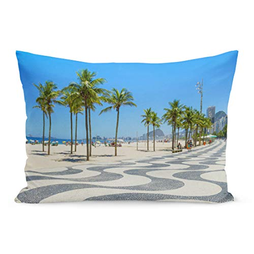 Semtomn Throw Pillow Covers Bright Scenic Morning View of The Iconic Boardwalk at Copacabana Beach in Rio De Janeiro Brazil Pillow Case Cushion Cover Lumbar Pillowcase for Couch Sofa 20 x 26 inchs