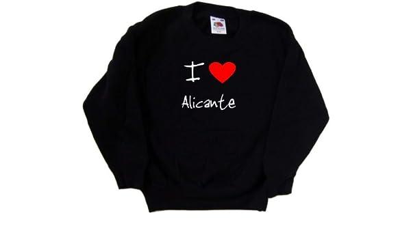 I Love Heart Alicante Black Kids Sweatshirt