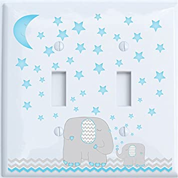 Blue Double Rocker Blue Grey Dandelion Elephant Light Switch Plates Covers//Elephant Nursery Decor