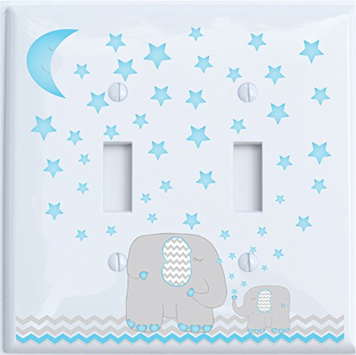 Toggle Star - Blue Moon and Stars Elephant Light Switch Plate Double Toggle with Blue Moon and Stars/Elephant Nursery Decor with Grey and Blue Chevrons. (Double Toggle)