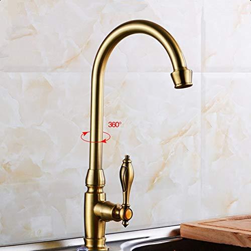 (Beetle LLC - Antique brass kitchen faucet kitchen sink tap cold-water tap 360 Swivel Spout kitchen faucet)