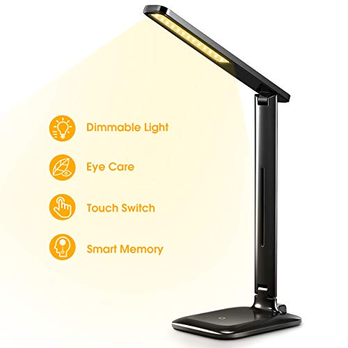 LED Desk Lamp, Eye-Caring Table Lamp, Dimmable Office Study Computer Desk Lamp, Touch Control, Memory Function, 3 Color Mode & 3 Brightness Light, Foldable LED Lamp for Reading, Working, Black