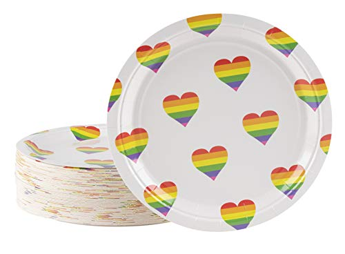 Disposable Plates - 80-Count Paper Plates, Rainbow Party Supplies for Appetizer, Lunch, Dinner, and Dessert, Rainbow Heart Pattern, 9 x 9 Inches ()