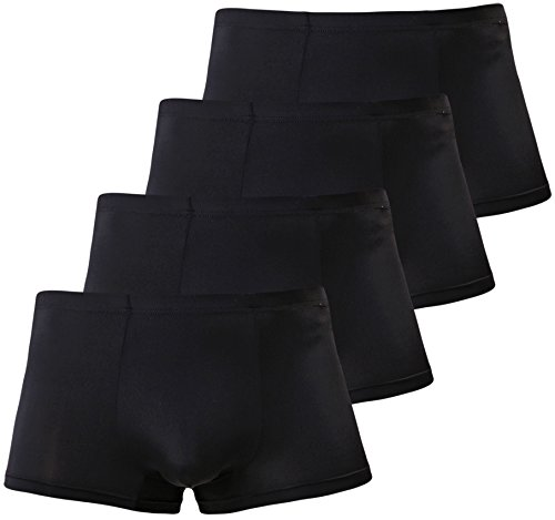 - Men's Short Leg Boxer Briefs Silk Sexy Seamless Trunks Underwear 4 Black Medium