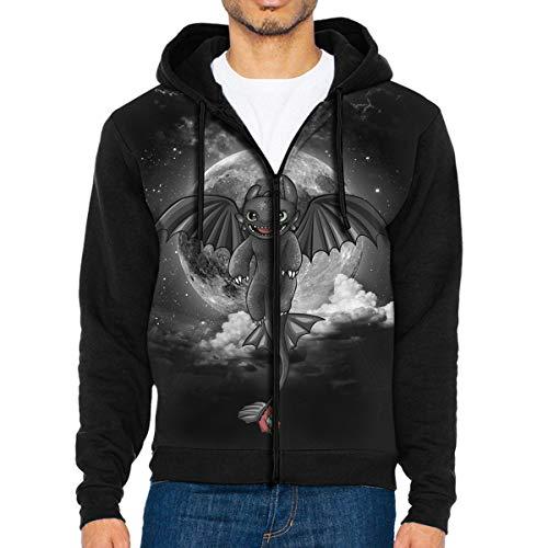 Full-Zip Men's Hooded Sweatshirt Night Fury Dragon Hoodie Sweaters Pullover Hoody Fashion Jacket for Men and Women Black