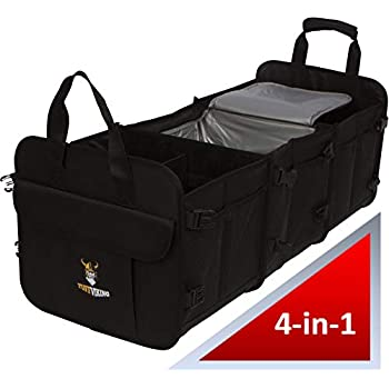 28cfea483a9 Tuff Viking Trunk Organizer | Car Truck Organizers and Cargo Storage for  SUV, Auto, Minivan, Jeep Accessories with Tie Down Straps (4-in-1 Built-in  Cooler ...