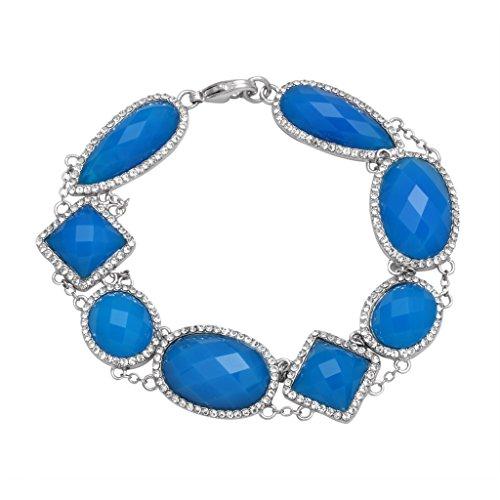 "Jewelili Rhodium plated Brass Blue Onyx with Clear Crystal Link Bracelet, 7.5"" - Octagon Bangle"