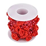 Hilitand 10m/roll 3mm Rose Artificial Pearl Wire Beads Garland String DIY Wedding Decoration,Faux Crystal Beaded(Red)