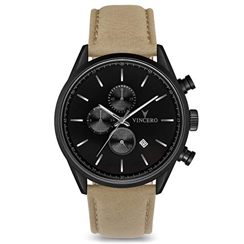 - Vincero Luxury Men's Chrono S Wrist Watch - Top Grain Italian Leather Watch Band - 43mm Chronograph Watch - Japanese Quartz Movement (Matte Black/Sandstone)
