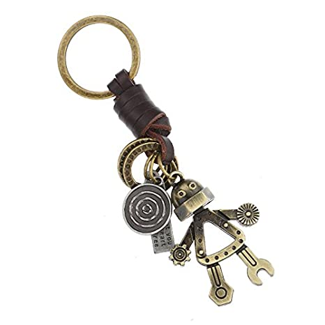 Vintage Punk Gothic Screw Robot Pendant Keychain, Retro Handmade Genuine Leather Braided Rope Keyring Charm Ornament Key Chains Key Rings Key Decoration Mustar