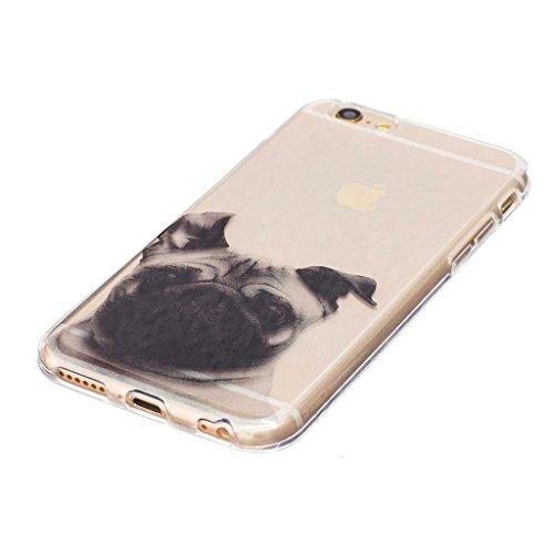 Crisant Möpse Drucken Design weich Silikon Ultra dünn TPU Transparent schutzhülle Hülle für Apple iPhone 6 6S 4.7'' (4,7''),Premium Handy Tasche Schutz Case Cover Crystal Bumper Schale für Apple iPhon