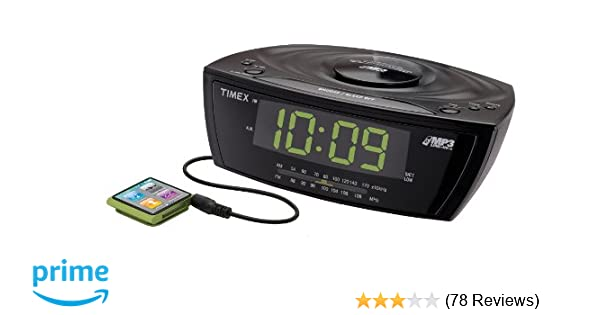 Timex T227BQ3 Large Display Alarm Clock Radio with MP3 Line-In, Black