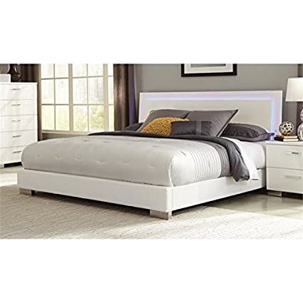 Amazoncom Bowery Hill Queen Lighting Platform Bed In High Gloss