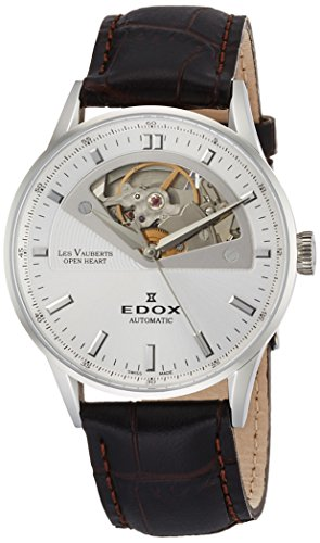 - Edox Women's Les Vauberts 37mm Black Leather Band Steel Case Automatic Silver-Tone Dial Watch 85019 3A AIN