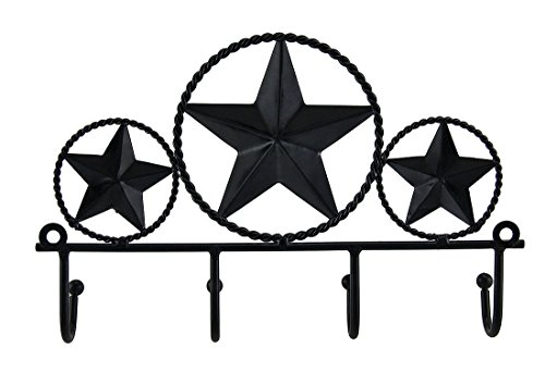 Iron Star Bbq - Texas Star Wall Hooks Plaque, Metal Decorative Wall Hooks Rustic Brown Western Stars Key Holder Wall Hanging Brown, Texas Star Wall Plaque Hooks Western New 4 Hook Rustic Iron Hanging Country