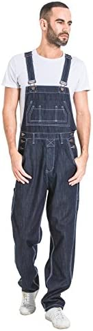 G8 One Men\u2019s Loose Fit Denim Bib Overalls - Dark Blue Value Overalls Overalls