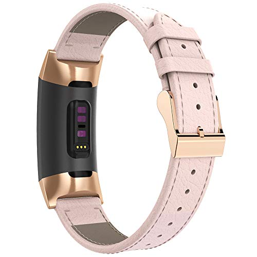 Mostof Leather Band Compatible Fitbit Charge 3 Bands, Retro Breathable Adjustable Fitbit Charge 3 SE & Charge 3 Replacement Genuine Leather Bands Straps Wristband for Women Men (Pink)