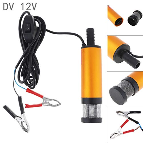 ePathChina Portable Aluminium Alloy Car Electric Submersible Pump Fuel Water Oil Barrel Pump with 2 Alligator Clips DC 12V 38MM ()