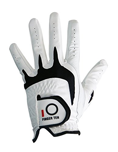 Men's Golf Glove All Weather Left Hand Pack, Soft Durable Grip Small Medium ML Large XL, By Finger Ten (Medium)