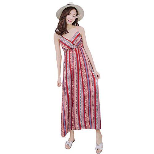 XIU*RONG Eslinga De Verano Falda Larga Falda Sands Beach Playa Falda Falda Mujer Vestidos De Playa gules