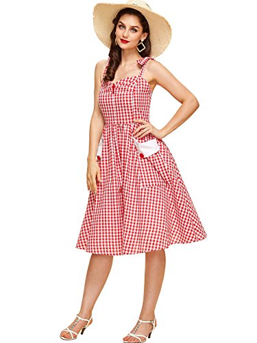Milumia Women's Vintage Tie Shoulder Spaghetti Strap Plaid Short A Line Swing Dress Large (Halter Vintage Tie)