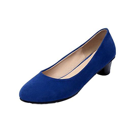 Allhqfashion Femmes Imitation Daim À Bout Rond Talons Bas Chaussures À Enfiler-chaussures Bleues