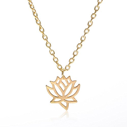 Luccaful Lotus Outdoor Link Party Women Necklace Beauty Alloy Charm Jewelry Chain Choker 52cm 20 Hollow 5inch type2 OneSize (Outdoor Pend)