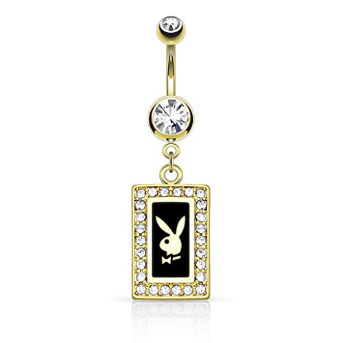 Inspiration Dezigns 14GA Playboy Bunny Square Frame with Paved Gems Dangle 14kt Gold Plated Navel Ring (Black) ()