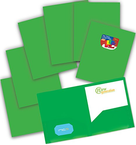 NEW GENERATION - Heavy Duty Plastic 2 Pocket Folder, 6 Pack Green Color Poly Folders for Letter Size Papers, Includes Built-in Business Card Slot, Great to use at School, Home, Work and Storage - Two Pocket Green