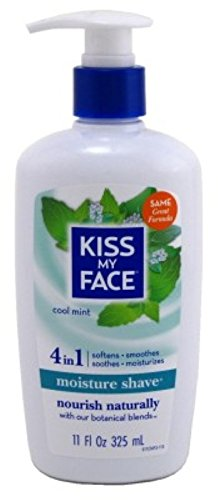 Kiss My Face 4-in-1 Moisture Shave, Cool Mint 11 oz (Pack of 6) by Kiss My Face