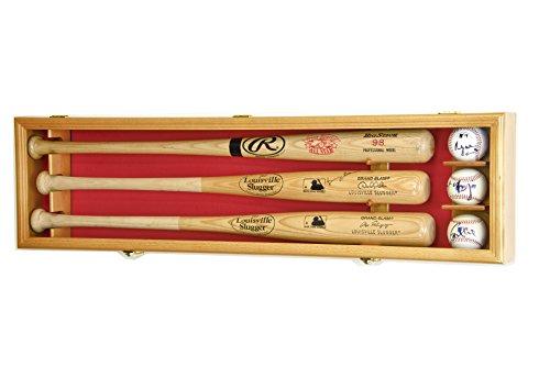 3 Baseball Bat Display Case Cabinet Holder Wall Rack Custom Options 98% UV - Lockable (Oak Wood Finish, Red Felt - Horizontal Mounting) ()
