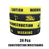 Cleverplay 24 Pack Construction Zone Silicone Wristbands Bracelets ,Birthday Party Favors for Kids...