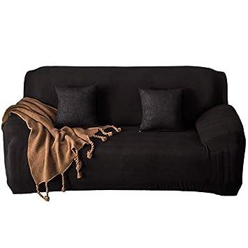 ZOCAVIA Easy-Install Sofa Slipcovers Ultra Soft Spandex Fabric Stretch  Non-Slip Furniture Protector(Loveseat Black)
