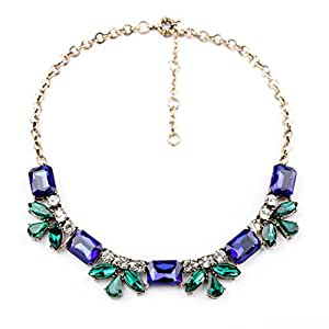 Habeats Navy Blue and Green Jeweled Crystal Bib Statement Necklace 18 Inch with Extender